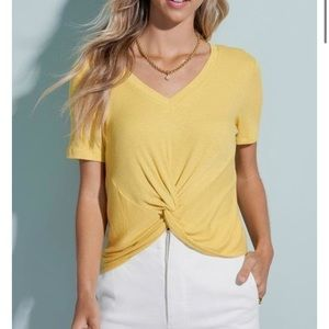 Boutique Lemon Yellow Knot Front V-Neck T-Shirt